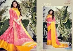 Attractive Yellow & Red Print Saree