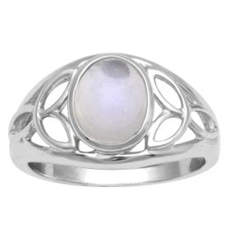925 Sterling Silver 8X6 MM Oval Cab Rainbow Moonstone Celtic Hollow Ring