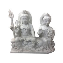 Shiv Parvati White Marble Statue