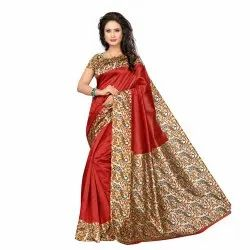 Fantastic Red Colored Poly Silk Printed Casual Wear Saree