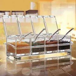 Set Of 4 Crystal Spice Rack
