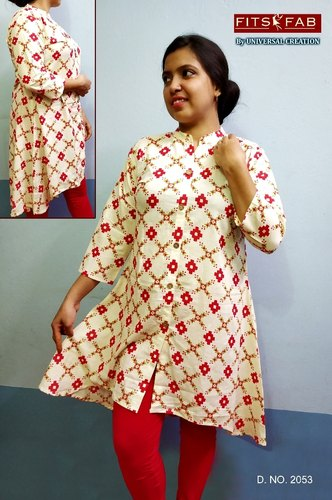3/4th Sleeve Fits Fab Ladies Cotton Kurti