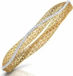Real Diamond Gold Bangle
