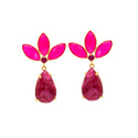 Trendy Hot Fashionable Model Casual Womens 925 Silver Gold Plated Gemstone Earring