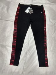 Lycra Cotton Plain Black N Red Ladies Gym Lower