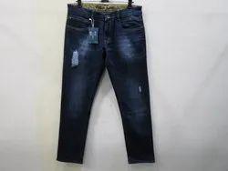 Mens Dark Blue Straight Fit Stretch Jeans(PW-019)