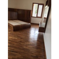 Oak Wood Dark Brown Laminated Wooden Flooring, Thickness: 10-15 Mm