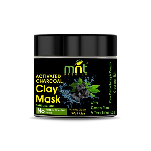 MNT Activated Charcoal Clay Mask with Green Tea & Tea Tree Oil for Deeply Cleanses Skin, 100g