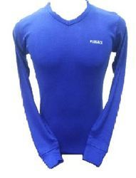 Blue V-Neck Lycra Full Sleeve T Shirt