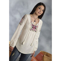 Small And Large Embroidered Ladies Western Cotton Top