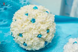 Cream And Blue Floral Ball
