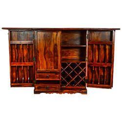 Walnut Rustic Wooden Bar Cabinet