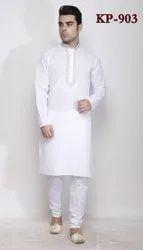Dot Exports Long Plain linen Kurta Pyjamas For Gents