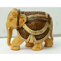 Wooden Hand Carved Painted Elephant