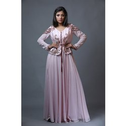 SZGW 05 Dusky Pink Embroidered Jacket Party Gown