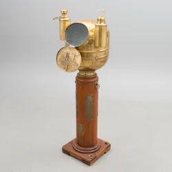 Long Wooden Stand Ships Binnacle Compass