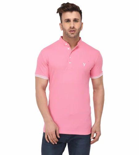 4593e1a9afc Half Sleeves Casual Wear Youthen Men's Baby Pink Mandarin T Shirt ...