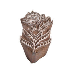 Wooden Flower with Leaf Hand Printing Block