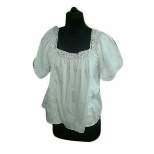 f4d553b298c3 Plain Half Sleeves Ladies Designer Cotton Top, Rs 500 /piece | ID ...