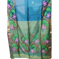 Krishnachura 5.5 m (separate blouse piece) Muslin Jamdani Zari Border Saree, With Blouse Piece