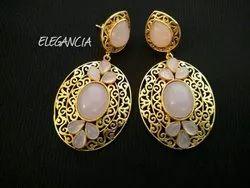 Female Party Wear Pure Gold Earring Jewelry