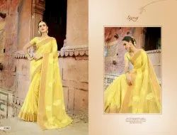 Yellow Silk Designer Organza Saree