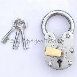 Handmade Gate Lock with Odd Size Long Shackle Hole Key