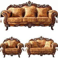 Living Room Wooden Carved Sofa Set, For Home
