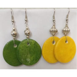 Green and Yellow Pottery Earrings