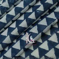 Indigo Blue Fast Color Geometric Hand Block Print Fabric