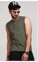 Cotton Plain Olive Sleeveless T Shirt
