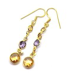 Long Silver Earrings In Citrine