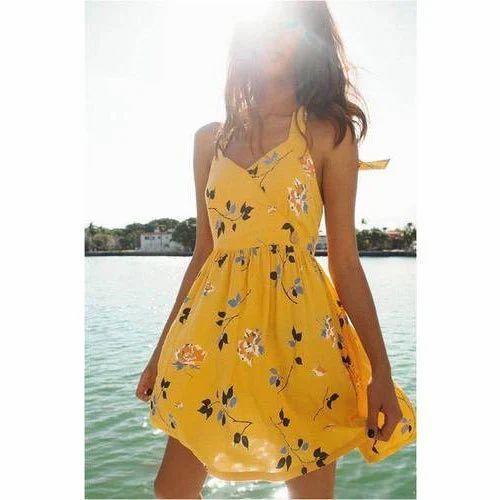 short summer yellow dresses