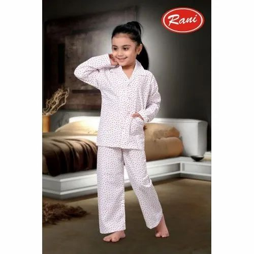Cotton Casual Wear Kids White Printed Uniform Night Suit