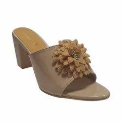 Polka Faux Leather Ladies Block Heel Flower Sandal, For Footwear