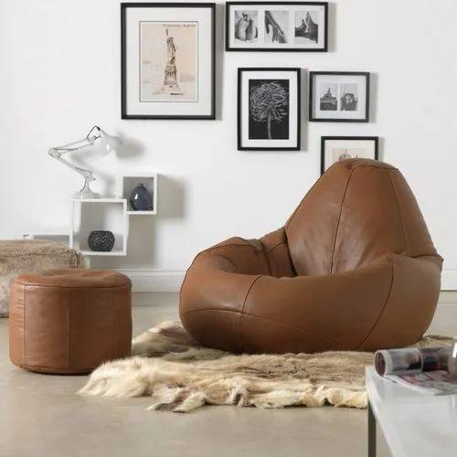 Bean Bag Sofa And Round Ottoman Set