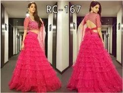 Attractive Colorfull Ruffle Net Lehenga Choly