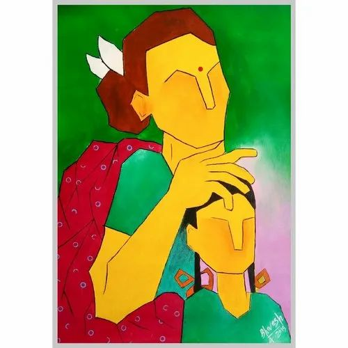 Simple Acrylic Mother Love Rs 5000 Order B Art Paintings Id 21541201855
