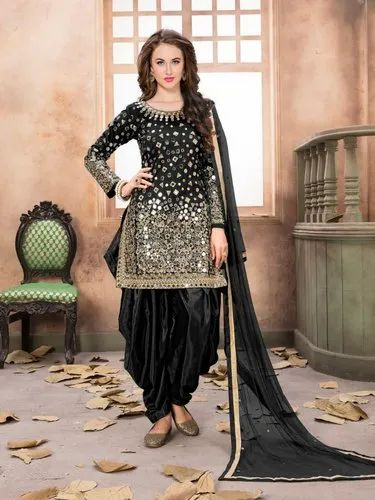 Party Wear Chanderi Patiyala Salwar Suits