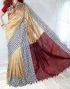 Stylist Khadi Check Border Cotton Silk Saree