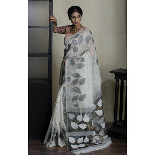 0f272628d2 Jamdani Sarees - Pure Handloom Khadi Silk Jamdani Saree in White and ...