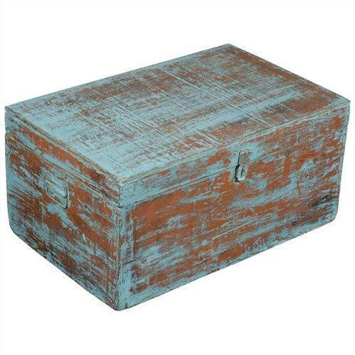 Blue Distressed Reclaimed Wood Storage Trunk