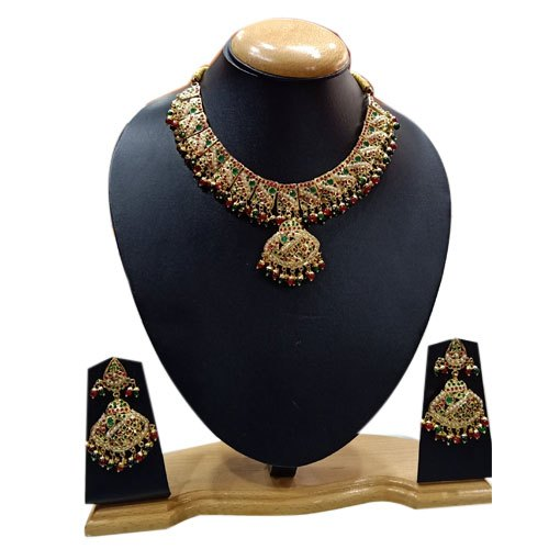 Party Golden Ladies Fancy Necklace Set, Packaging Type: Box