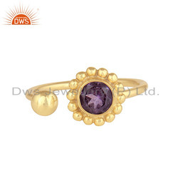 New 18K Yellow Gold Plated 925 Silver Natural Amethyst Gemstone Rings