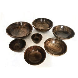 Burnt Wood Finished Wooden Bowls