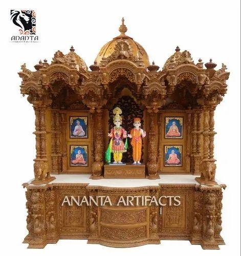 Large Pooja Mandir Swaminarayan Teak Wood Temple For Home