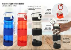 Grip-On: Push Button Bottle With Silicon Grip (600ml Approx) Made From Tritan Bpa Free