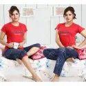 Round Neck Printed Ladies Designer Hosiery Night Suit, T-shirt, Capri And Lower, Size: S-xl