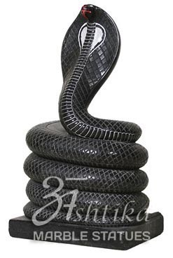 Black White Traditional Marble Nag Devta Statue For