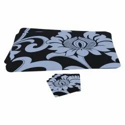 Black And White Table Mat With Coaster Set